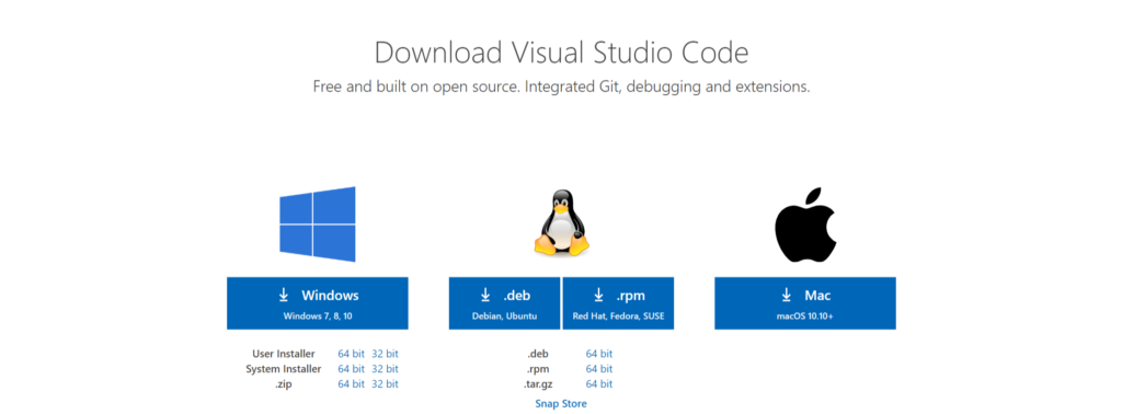 Visual Studio Codeダウンロード画面